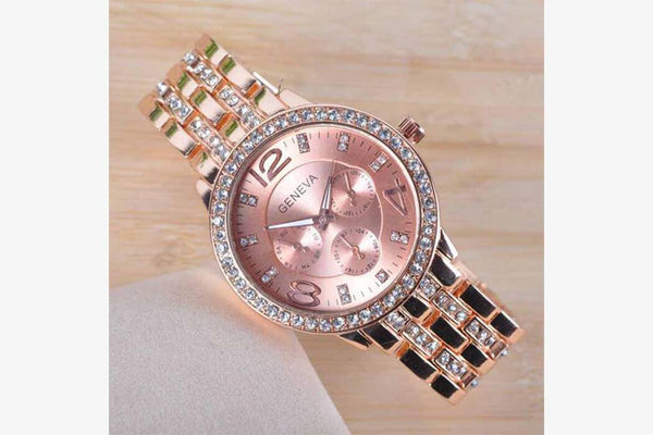 Rose Gold Stylish Stone Watch