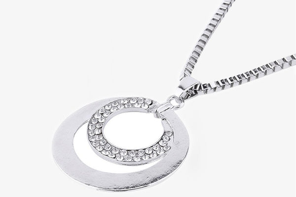 Silver Rhinestone Crystal Necklace