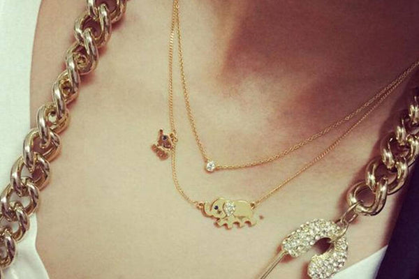 Ultra Cute Dual Elephant Necklaces