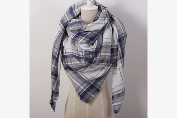 Women's Checkered Square Scarf - Phonebibi