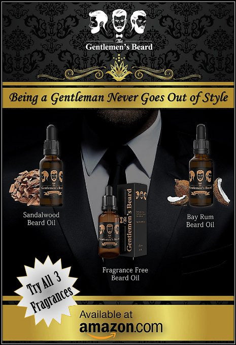 Sandalwood Beard Oil Conditioner & Softener. Pure, Organic & Natural Made in the U.S.A. Best Premium Beard Oil for Mustache and Beard Growth as well as Skin Conditioner for Men. The Gentlemen's Beard