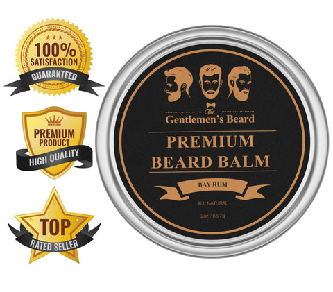 Beard Balm - Bay Rum - Premium Leave-in Beard and Skin Conditioner & Softener - Best All Natural Organic Oils, Butters & Waxes for Men By The Gentlemen's Beard - Hand Crafted in the USA.