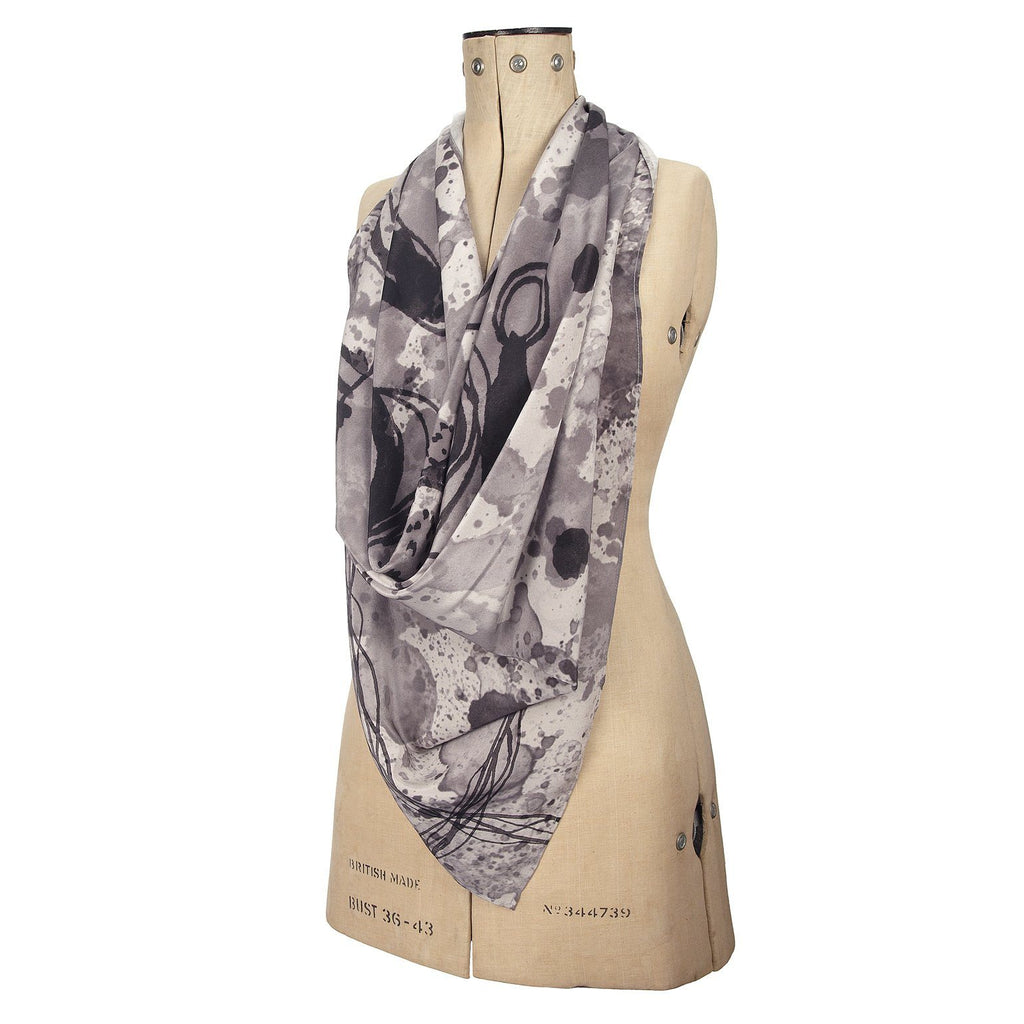 Grey Pug Silk Scarf