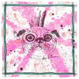 Pink Pug Silk Pocket Square