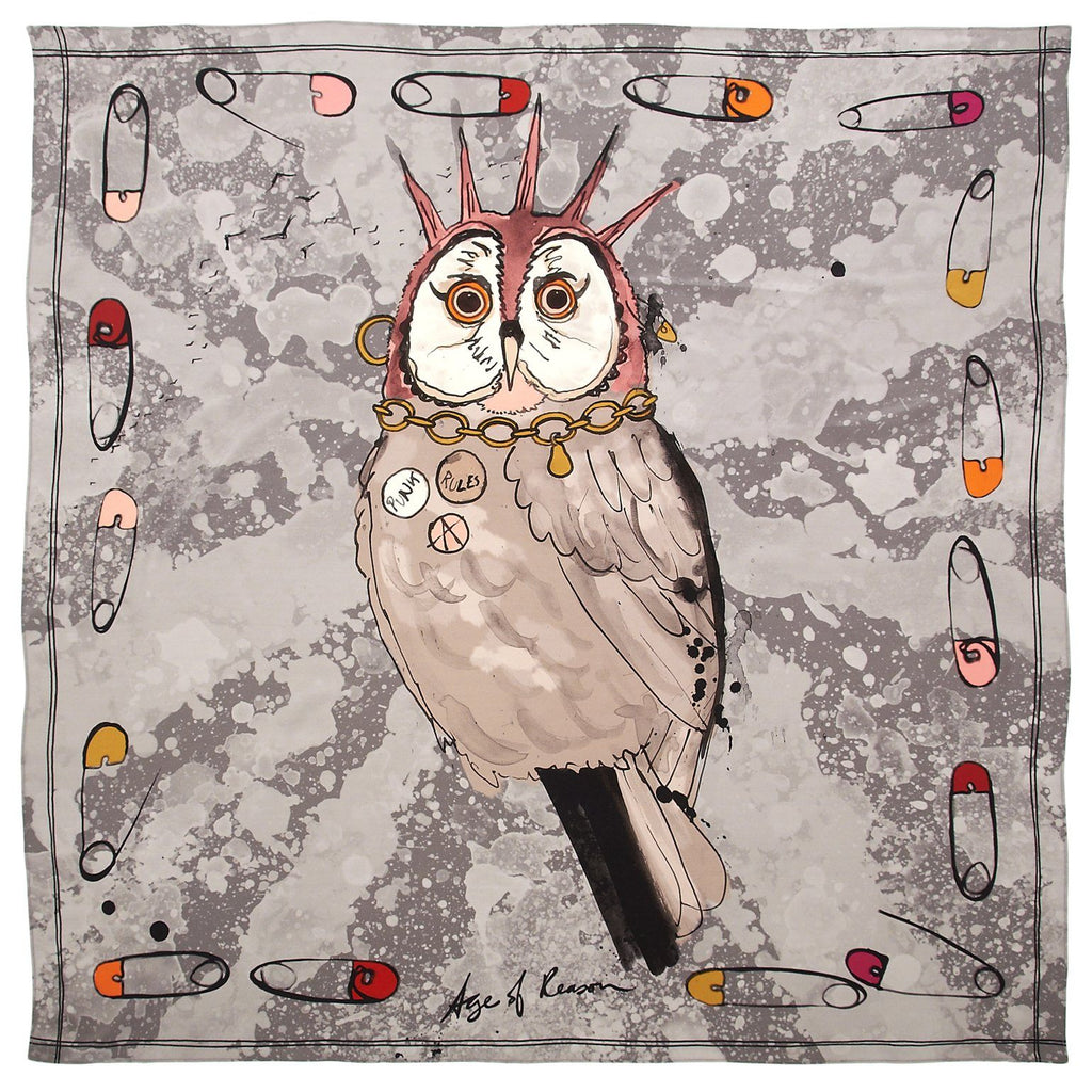 Anarchy Owl Silk Scarf