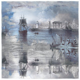 Grey Ships Silk Scarf
