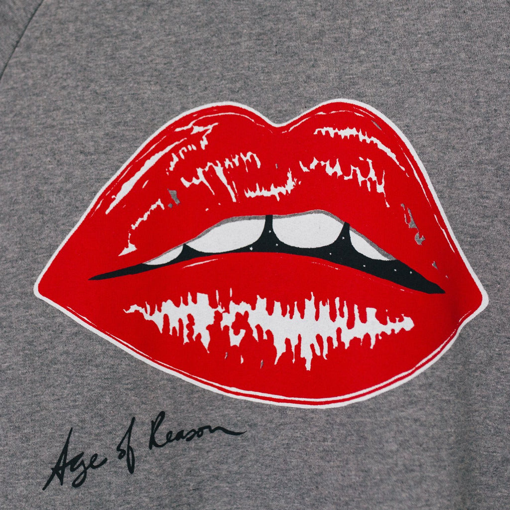 Iconic Lips Sweatshirt- Vermillion Red on Grey