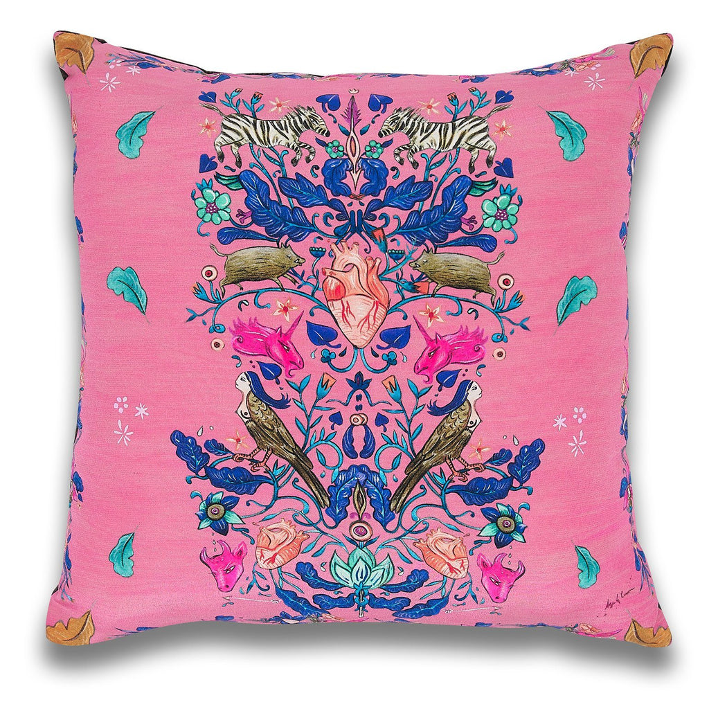 Pink Freya Heart Cushion