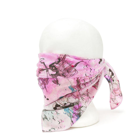 Silk Face Cover - Pleated Mythical Print