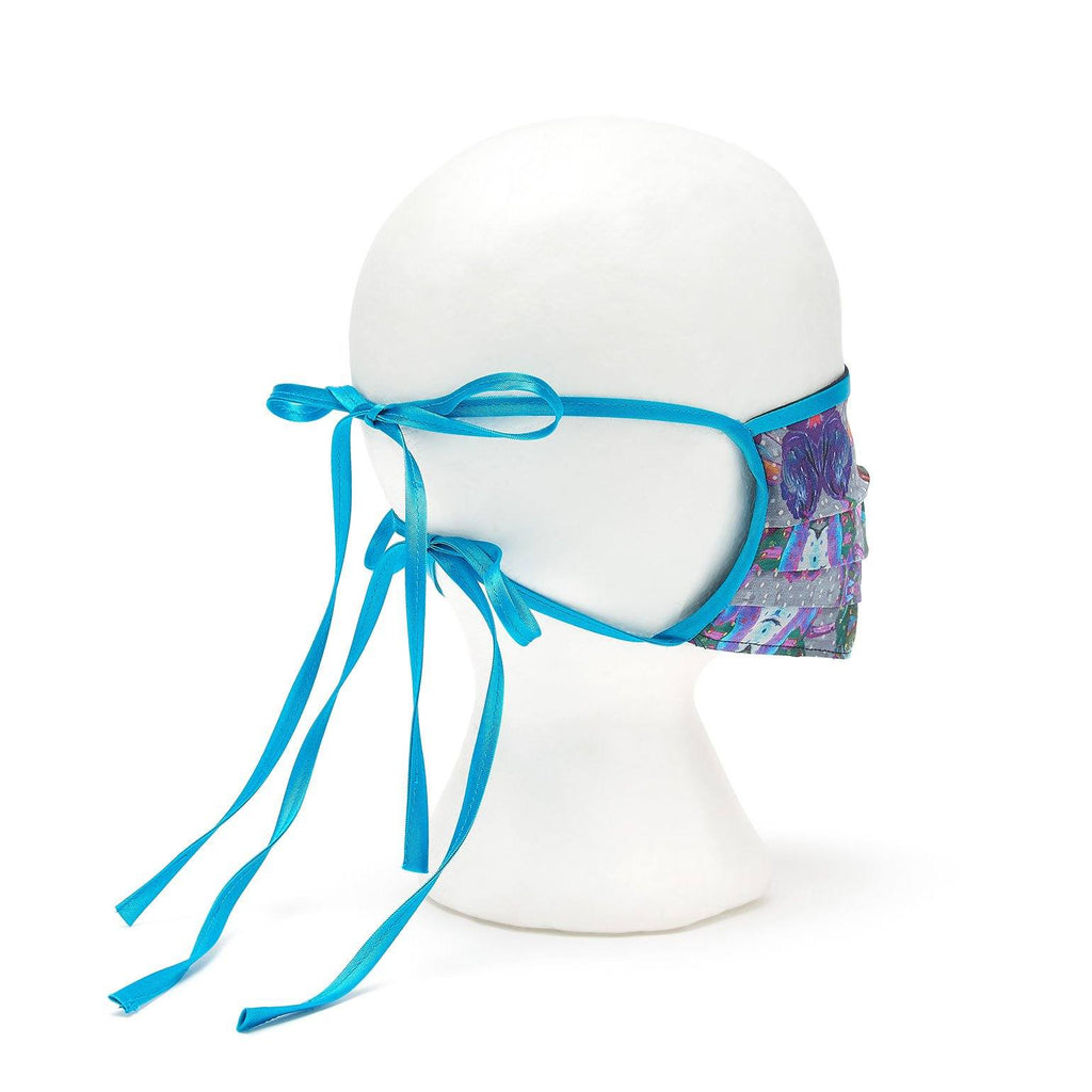 Silk Face Cover - Pleated Iris Print