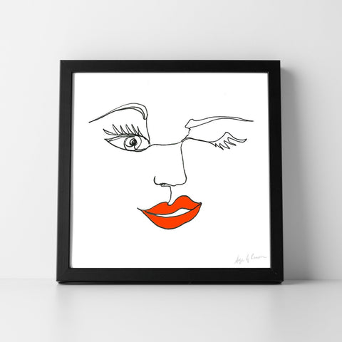 Silk Face Cover - Shaped Lips Print