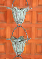 Rain Chain Hand Cast Brass Flower Cups