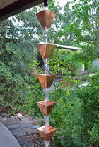 Rain Chain XL Square Cup - Copper