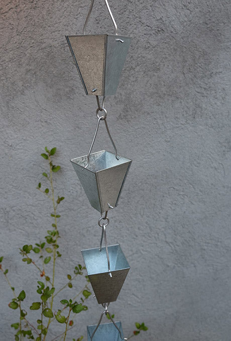 Rain Chain Tapered Square Cups, Steel Galvanized