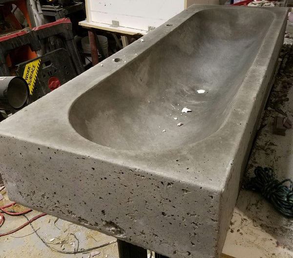 "Expressions LTD Concrete Countertop Fiberglass Sink Mold, 48"" Trough Design"