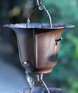 Rain Chain Iron Flower Cups in Bronze