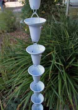 Rain Chain Flared Cup - Aluminum, White