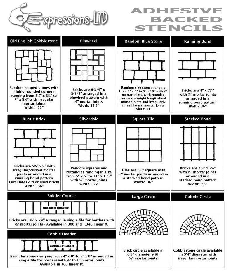 Adhesive Backed Stencils - For Concrete, Plaster, Paint, and more!