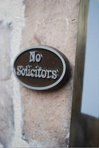 Pewter (Aluminum) No Solicitors Plaque, Oval