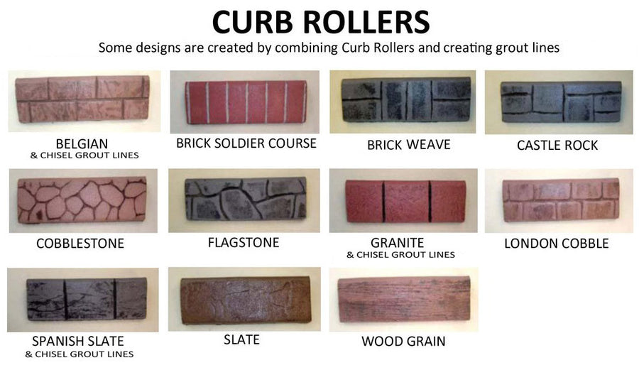 concrete curb border stamp rollers 11 pack