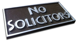 Pewter (Aluminum) No Solicitors Plaque, Rectangle