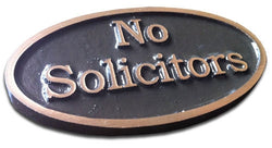 Bronze No Solicitors Plaque, Oval