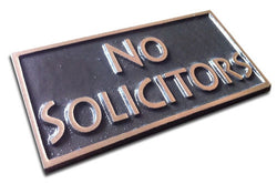 Bronze No Solicitors Plaque, Rectangle