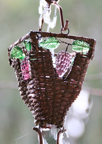 Rain Chain Basket and Glass Copper Cups