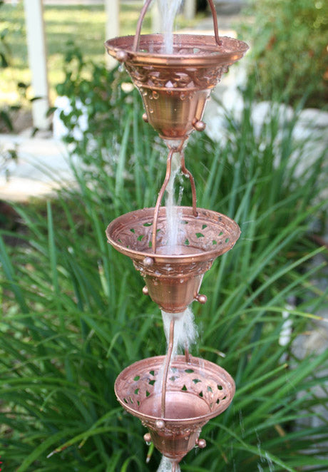 Rain Chain Copper Florence Cup