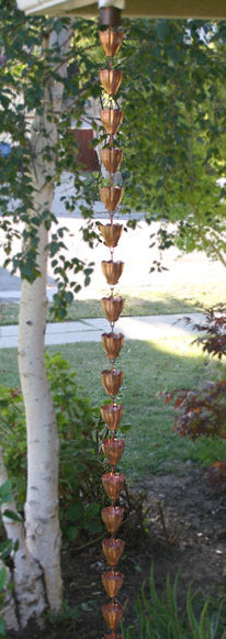 Rain Chain Fluted Copper Cups