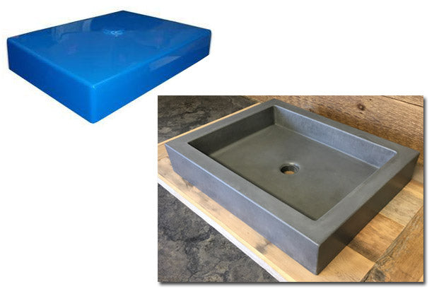 "Concrete Countertop Sink Mold, SDP-21-B Rectangle Shallow (@16""x12""x3"")"