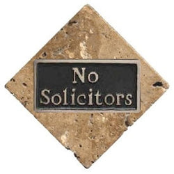 Stone with Bronze No Solicitors Plaque