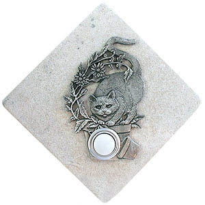 Cat Stone Doorbell Pewter Finish