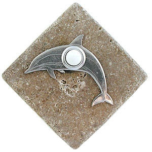 Dolphin Stone Doorbell Pewter Finish