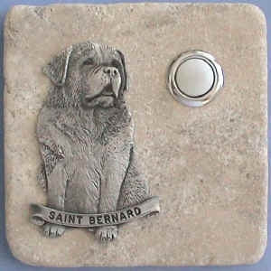 St. Bernard Dog Breed Stone Doorbell