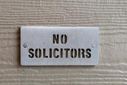 Stainless Steel NO SOLICITORS Sign