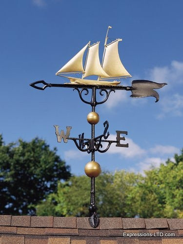 46-Inch Yacht Weathervane - Gold-Bronze