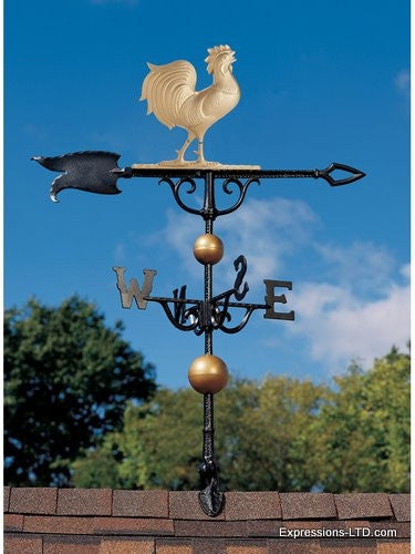 46-Inch Rooster Weathervane - Gold-Bronze