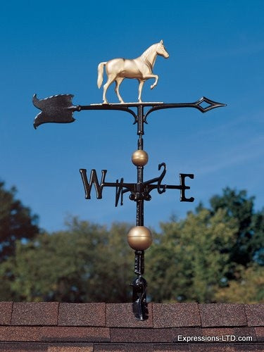 30-Inch Full-Bodied Horse Weathervane - Gold-Bronze