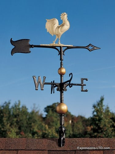 30-Inch Full-Bodied Rooster Weathervane - Gold-Bronze