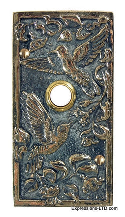 Hummingbird Wide Doorbell - Verdigris