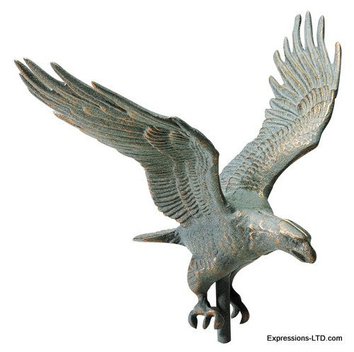 30-Inch Full-Bodied Eagle Weathervane - Verdigris