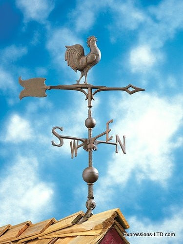 30-Inch Full-Bodied Rooster Weathervane - Verdigris