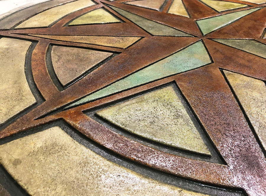 "Concrete Accent Stamp Mat - 48"" Compass Celestial North Star"