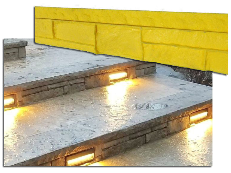 Concrete Step Insert Form Liner - Cantilever Fieldstone