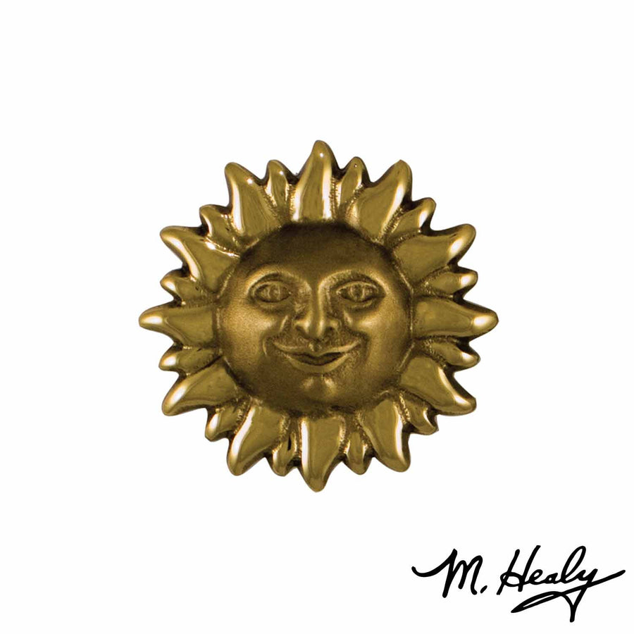 Smiling Sun Face Doorbell Ringer - Polished Brass