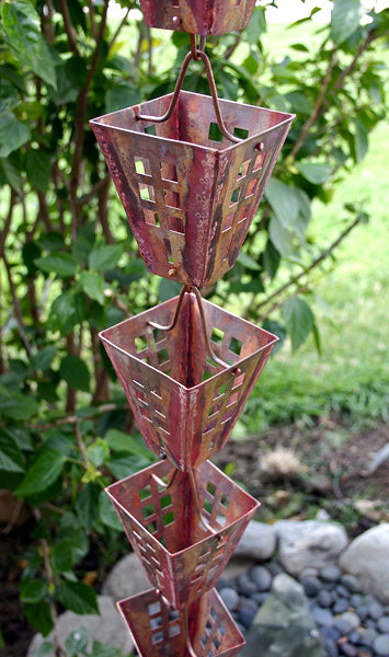 Rain Chain Copper Arts and Crafts Square Cups