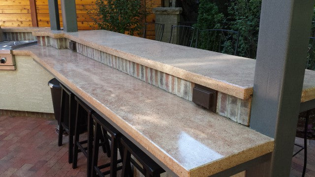 Concrete Countertop Cast In Place Forms- Commercial Bar Large Square Edge