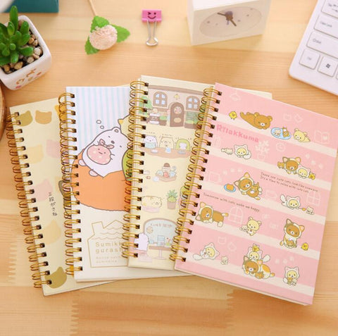 Cartoon Rilakkuma Sumikko Gurashi Hard Cover Spiral Notebook - Kute Kico Kawaii Stationery