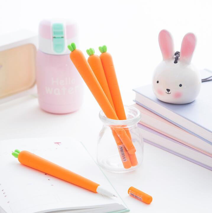 Carrot Gel Ink Pen 3pcs - Kute Kico Kawaii Stationery